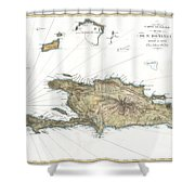 1802 Tardieu Map Of Santo Domingo Or Hispaniola West Indies Shower Curtain