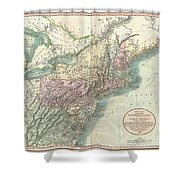 1806 Cary Map Of New England New York Pennsylvania New Jersey And Virginia Shower Curtain