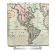 1806 Cary Map Of The Western Hemisphere  North America And South America Shower Curtain