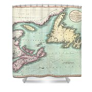 1807 Cary Map Of Nova Scotia And Newfoundland Shower Curtain