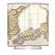 1809 Pinkerton Map Of Korea And Japan Shower Curtain