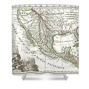 1810 Tardieu Map Of Mexico Texas And California Shower Curtain