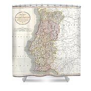 1811 Cary Map Of The Kingdom Of Portugal Shower Curtain