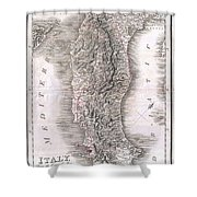 1814 Rizzi Zannoni Map Of Italy Shower Curtain