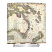 1814 Thomson Map Of Australia New Zealand And New Guinea Shower Curtain