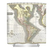 1814 Thomson Map Of North And South America Shower Curtain