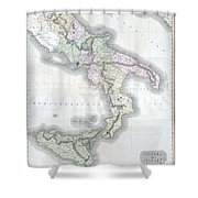 1814 Thomson Map Of Southern Italy Shower Curtain