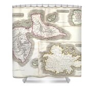 1815 Thomson Map Of Guadaloupe Antigua Marie Galante  West Indies Shower Curtain