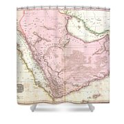 1818 Pinkerton Map Of Arabia And The Persian Gulf Shower Curtain
