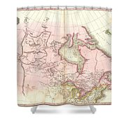 1818 Pinkerton Map Of British North America Or Canada Shower Curtain