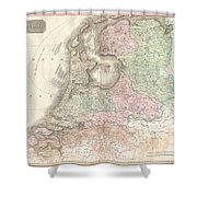 1818 Pinkerton Map Of Holland Or The Netherlands Shower Curtain