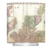 1818 Pinkerton Map Of Northern Scotland Shower Curtain