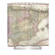 1818 Pinkerton Map Of Spain And Portugal Shower Curtain