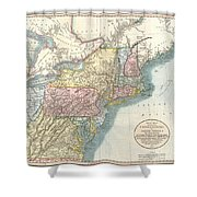1821 Cary Map Of New England New York Pennsylvania And Virginia Shower Curtain