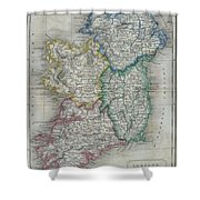 1822 Butler Map Of Ireland Shower Curtain