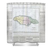 1825 Carez Map Of Jamaica  Shower Curtain