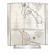 1825 Victoria Map Of San Diego California And San Blas Mexico  Shower Curtain