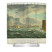 1825 Wall And Hill View Of New York City From The Hudson River Port Folio Shower Curtain