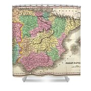1827 Finely Map Of Spain And Portugal Shower Curtain