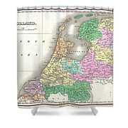 1827 Finley Map Of Holland Or The Netherlands Shower Curtain