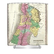 1827 Finley Map Of Israel  Palestine Holy Land Shower Curtain