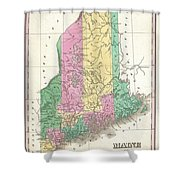 1827 Finley Map Of Maine Shower Curtain