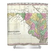 1827 Finley Map Of Maryland Shower Curtain