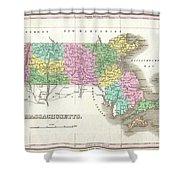 1827 Finley Map Of Massachusetts Shower Curtain