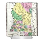 1827 Finley Map Of Mississippi Shower Curtain