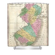 1827 Finley Map Of New Jersey  Shower Curtain
