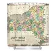 1827 Finley Map Of New York State Shower Curtain