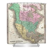 1827 Finley Map Of North America Shower Curtain
