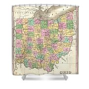 1827 Finley Map Of Ohio Shower Curtain