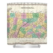 1827 Finley Map Of Pennsylvania Shower Curtain