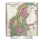 1827 Finley Map Of Scandinavia Norway Sweden Denmark Shower Curtain