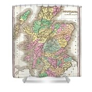 1827 Finley Map Of Scotland Shower Curtain