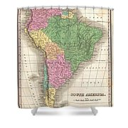 1827 Finley Map Of South America Shower Curtain