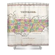 1827 Finley Map Of Tennessee Shower Curtain