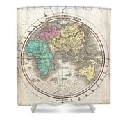 1827 Finley Map Of The Eastern Hemisphere  Shower Curtain