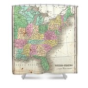 1827 Finley Map Of The United States Shower Curtain