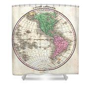 1827 Finley Map Of The Western Hemisphere Shower Curtain