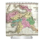 1827 Finley Map Of Turkey In Asia Iraq And Israel Shower Curtain