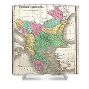 1827 Finley Map Of Turkey In Europe Greece And The Balkans Shower Curtain