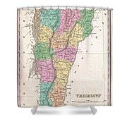 1827 Finley Map Of Vermont Shower Curtain