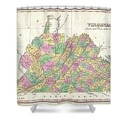 1827 Finley Map Of Virginia Shower Curtain