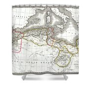 1829 Lapie Map Of The Eastern Mediterranean Morocco And The Barbary Coast Shower Curtain