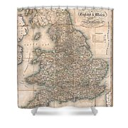 1830 Pigot Pocket Map Of England And Wales Shower Curtain