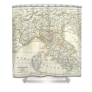 1832 Delamarche Map Of Northern Italy And Corsica Shower Curtain