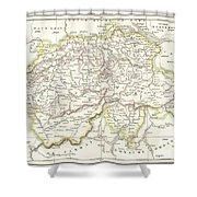 1832 Delamarche Map Of Switzerland Shower Curtain