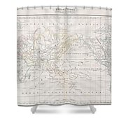 1832 Malte Brun Map Of The World On Mercator Projection Shower Curtain